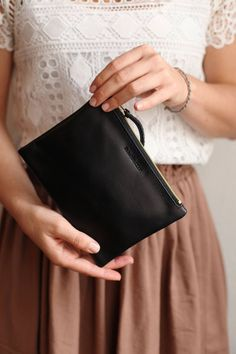 Our minimalist leather purses are handmade in our own studio with greatest attention to detail. We marry minimalist aesthetics with sustainable production of our accessories. Leather Bags Handmade, Handmade Bags, Small Leather Bag, Black Leather, Leather Clutch, Leather Purses, Business Outfits, Bridal Shoes, Clutch Purse