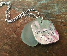 Beach Charm Necklace  Sea Glass Necklace Dreaming of the Sea