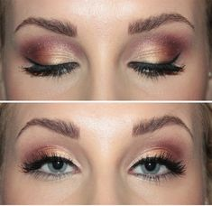 Gold and Dusty Rose smokey eye. <3 A toned down version would work nice for this summer.