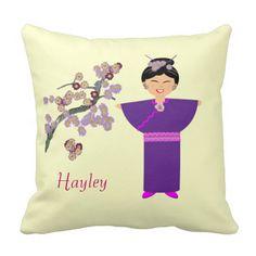 Cute Geisha Girl Blossom  Personalised Pillow