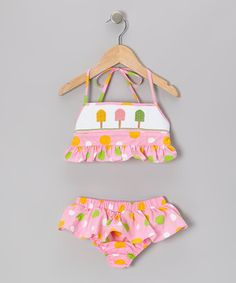 Take a look at this Pink Polka Dot Popsicle Smocked Sunsuit Bikini - Infant & Toddler on zulily today!