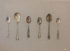 """""""Six Silver Teaspoons"""" by Hannah  Bruce. Oil painting on Canvas, Subject: Still life, Impressionistic style, One of a kind artwork, Signed on the front, Size: 73 x 53 x 2 cm (unframed), 28.74 x 20.87 x 0.79 in (unframed), Materials: Oil on primed raw Linen Canvas"""