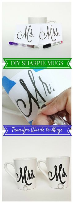 Transferring Words to Sharpie Mugs. Draw with an oil-based Sharpie pen on a white ceramic mug (from Dollar Tree).  Put the mugs in a cold oven and preheat to 250 degrees F.  Set the timer once the oven preheats for 2 hours.  Turn off the oven and leave it in the oven to cool.