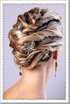 Wedding, Hair, Pulled back with sparkling details.