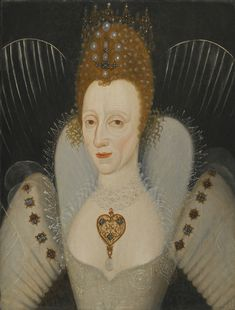 English School, late 16th century PORTRAIT OF QUEEN ELIZABETH I, BUST-LENGTH, IN AN IVORY DRESS WEARING A PEARL NECKLACE