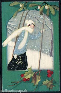 Vintage Signed Christmass Art Work Art Deco Postcard Lady VF Free Shipping | eBay