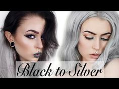 ideas for hair silver balayage black Black And Silver Hair, Grey Brown Hair, Black To Blue Ombre, Black To Blonde Hair, Silver Ombre Hair, Grey Curly Hair, Black Hair Dye, Golden Brown Hair, Black Hair With Highlights