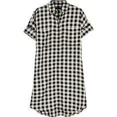 Madewell Checked twill shirt dress ($125) ❤ liked on Polyvore featuring dresses, tops, vestido, black, madewell dresses, madewell, checked dress, shirt dress and checkered shirt dress