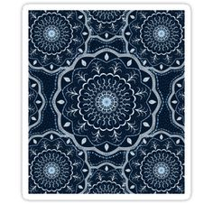 Hand Painted  Black White Blue Mandala. / Thanks for stopping by and I hope you enjoy your visit to my store:) / All Rights Reserved © Cristina Bianco Design. / SHOP BY PRODUCT: • Also buy this artwork on stickers, apparel, phone cases, and more.