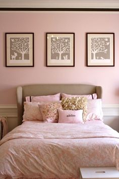 I like the wall color (similar to what I've purchased), and I like the gray/taupe prints above the bed... but maybe in a more mature version