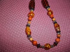 Wood And Acrylic Beaded Necklace With Cheetah Beads & Crackle
