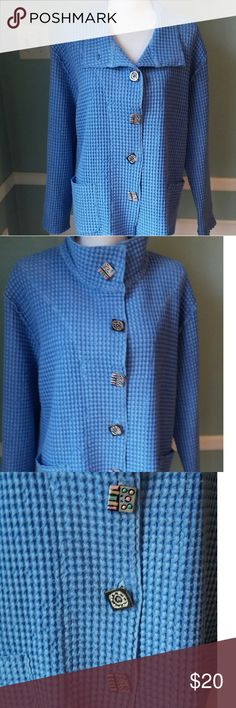 Focus Casual Life Jacket Blue Artsy jacket. Beautiful buttons Focus Jackets & Coats