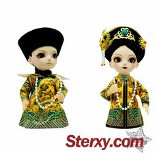 """""""This pair of Chinese Qing Dynasty Emperor and Empress dolls makes the great gift for a couple who fancies Chinese culture. This set of folk dolls decorated with court hats and luxurious pearl necklaces, ensuring it'll stand out wherever it is placed. """" #gift #coupletoys #red #cute http://www.sterxy.com/product/Occasions-For-Wedding-Wedding-Gifts/Qing-Dynasty-Emperor-and-Empress-Dolls/2006.html"""