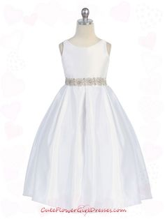 communion dresses | White Simple Satin  cuteflowergirldresses.com
