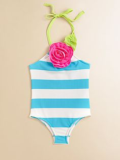 Love U Lots Toddler's & Little Girl's Striped Halter Swimsuit