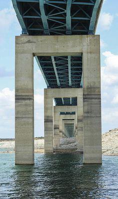 Underside of the main bridge over lake Amistad.