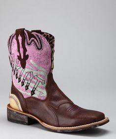 Take a look at this Chocolate & Pink Zipitbaby Cowboy Boot - Girls by Ariat on #zulily today!