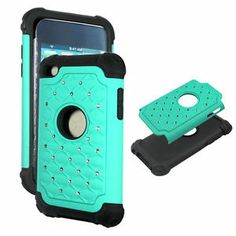 Turquoise green Hybrid Rhinestone defender Apple iPod Touch 5th gen. cover case