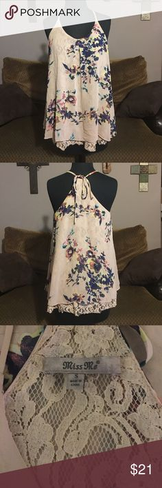 "Miss Me Top Absolutely adorable Miss Me top. Fully lined with tan color lace and beautiful floral print all over. Ties at the back of the neck for adjustable fit. Size small, measures 18 1/2"" armpit to armpit and about 25"" long from shoulder to bottom laying flat Miss Me Tops Blouses"