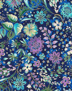 Lumina 2 - Gilded Flower Garden - Midnight Blue/Gold. Fabric from eQuilter.com