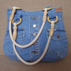Handmade women s bags order jeansOrder jeans … - Diy And Craft Love this denim tote! Interior, style, cord, metal accessories DIY Bag and PurseChic bag made of old jeans diy – ArtofitA bead Denim Tote Bags, Denim Purse, Jean Diy, Blue Jean Purses, Denim Ideas, Denim Crafts, Recycled Denim, Recycled Leather, Handmade Leather