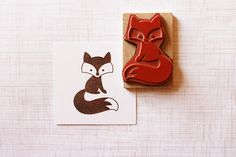 Hand carved fox stamp. Cute!