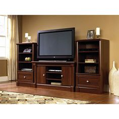 Sauder Palladia TV Stand and Storage Towers Value Bundle, Cherry