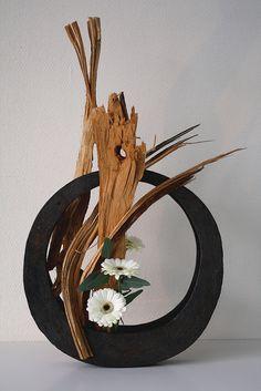 wooden moon by jeroenvermaas Ikebana   Japanese flower arrangement