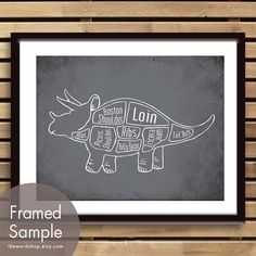 Triceratops, Dinosaur Butcher Diagram Series-11x14 Print The Word Shop