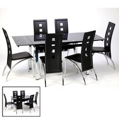 Sarah Gl Extendable Dining Table In Black With Chrome Legs