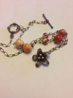 Elegant  Fire Agate  stones with sterling silver Hill flower open link chain elegant necklace  on Etsy, $30.00