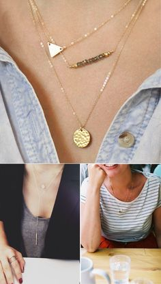 Dainty necklaces.