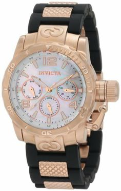 Invicta Women's 1703 Corduba Mother-Of-Pearl Dial Black Polyurethane and Rose Gold Stainless Steel Watch Invicta. $163.49. 24 hour, day and date subdials. Mineral crystal; brushed 18k rose gold ion-plated stainless steel case; black polyurethane strap with textured 18k rose gold ion-plated center links. Swiss quartz movement. Mother of pearl dial with rose gold tone hands, hour markers and arabic numerals; luminous; unidirectional bezel; secured screw down prot...