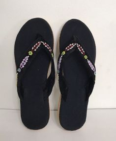 36b939355 Nwob Black Velvet w beads Slip On Woman Bedroom indoor Slipper Size 10