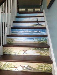 If I EVER own a 2 story house this will be my stairway with the scripture: I am the light unto your path