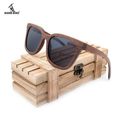 BOBO BIRD Black Walnut Wood Bamboo Polarized Sunglasses Mens Glasses UV 400 in Wooden Original Box