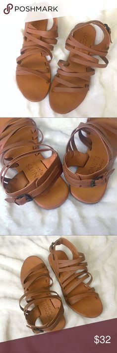 Coconut By Matisse Tan Strappy Sandals Size 8 These strappy sandals from Coconuts by Matisse, are tan with a back buckle closure.  Size 8M.  Barely worn, maybe three times, at most.  I'm usually a 7.5, and these were just a tad too long for my feet. Coconuts by Matisse Shoes Sandals