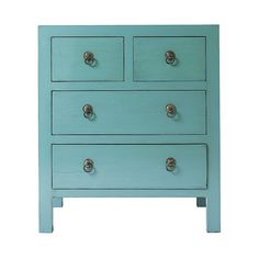 Teal chest of drawers. I love this color!