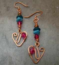 Sale Priced   Handmade Copper Artisan Earrings with by Sewartzee, $14.00