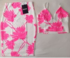white + neon pink tropical print bodycon skirt + crop top   |  http://www.missguidedus.com/catalog/product/view/id/107719/s/carressa-midi-skirt-with-palm-tree-print/category/501/