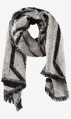 geo print oblong blanket scarf