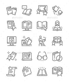 Buy Reading Line Icons by PalauDesign on GraphicRiver. UI Pixel Perfect Well-crafted Vector Thin Line Icons Grid for Web Graphics and Apps with Editable Str. Web Design, Icon Design, Logo Design, Design Art, Marketing Logo, Marketing Digital, Marketing Ideas, Business Marketing, Icons Web