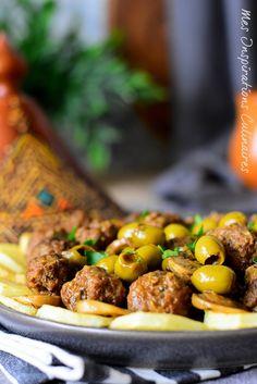 Tajine zitoune (olives), Kefta et pommes de terre Bangla Recipe, Algerian Recipes, Chef Recipes, Kung Pao Chicken, Samar, Food And Drink, Beef, Olives, Cooking