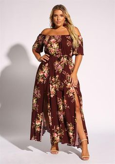 03cd7aaa46f Plus Size Floral Off Shoulder Slit Maxi Dress  bbwphotography Plus Size  Bodycon Dresses