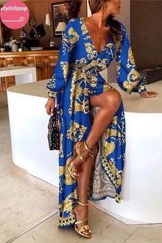 Stylish Vintage Print Deep V-Neck Sexy Maxi Dress maxi dress summer,maxi dress outfit,maxi dress casual, Sexy Maxi Dress, Maxi Dress With Sleeves, Boho Dress, Sexy Dresses, Vintage Dresses, Dress Casual, Long Sleeve Maxi, Midi Dresses, Dress Formal