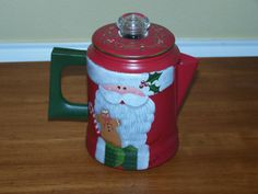Old Red Coffee Pot by Georgannself on Etsy Painted Metal, Painted Pots, Hand Painted, Christmas 2017, Christmas Trees, Peppermint Candy, Glass Knobs, Kettles, Christmas Paintings