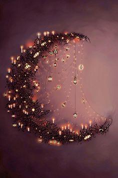 moon, dream, la luna, art, fairi, light, crescent, christma, halloween