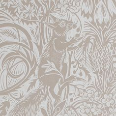 Squirrel and Sunflower Wallpaper A delightful wallpaper originating from a linocut by Mark Herald featuring a dense woodland scene of squirrels, birds and sunflowers with a hand printed semblance in a clay bisque.