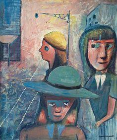 Charles Blackman ~ Schoolgirls with Tram Tracks, c.1952