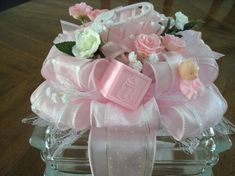 Newborn Nursery Centerpiece Girl Pink Infant by CraftsbyDebbieLea